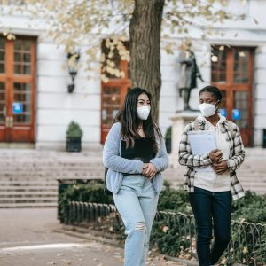 two students attending university during the pandemic