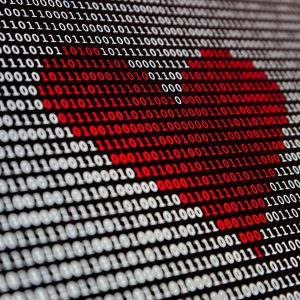 digital numbers in a form of a red heart