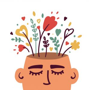 Human head with flowers inside vector concept